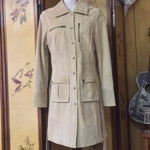 Arden B beige suede leather retro car coat NEW S
